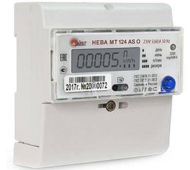 Нева МТ 124 5-60А 1-фазный электронный 2-тарифный на дин-рейку