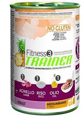 Trainer Fitness3 No Gluten Adult Medium&Maxi Duck and rice canned