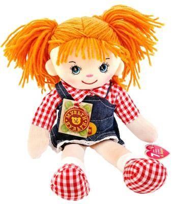 Мульти-Пульти Мягкая кукла рыжая в джинсовом сарафане