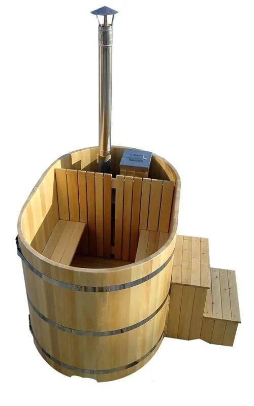 Фурако овальная из кедра со встроенной печью